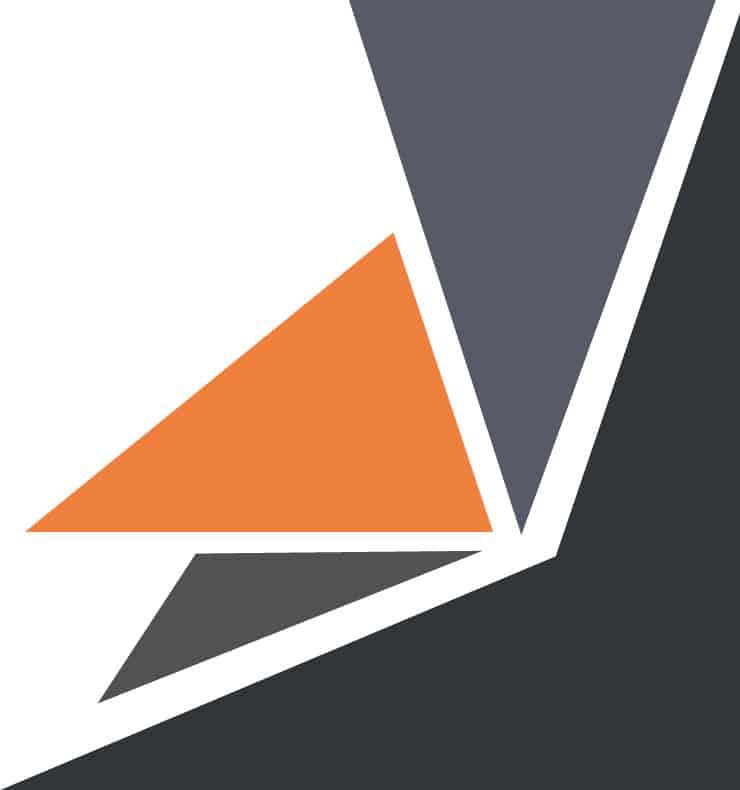 Forma geométrica gris y naranja